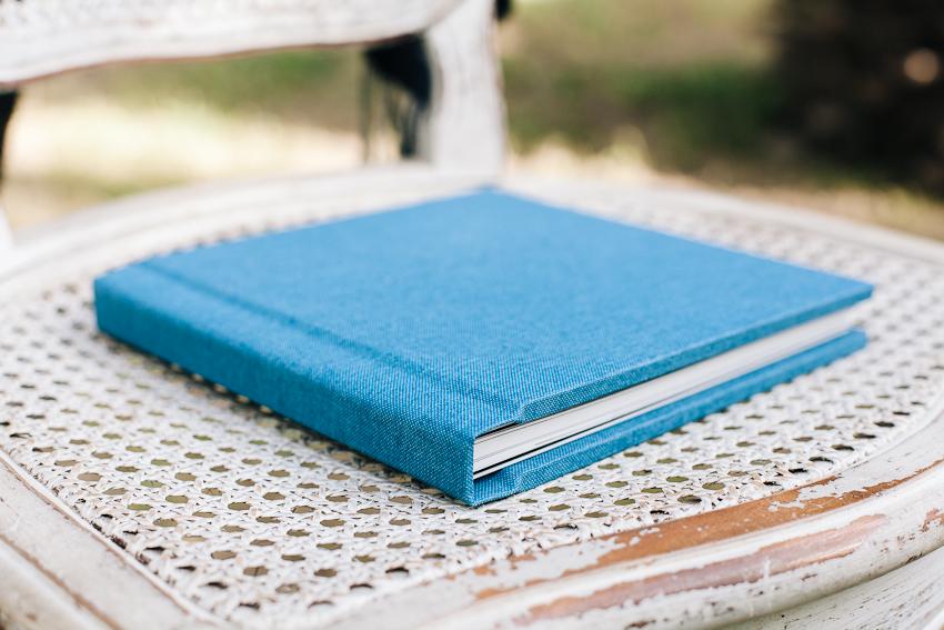 wedding folio album canvas steel blue