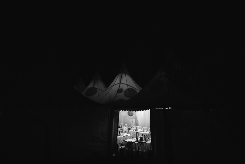 wedding tent at night black and white