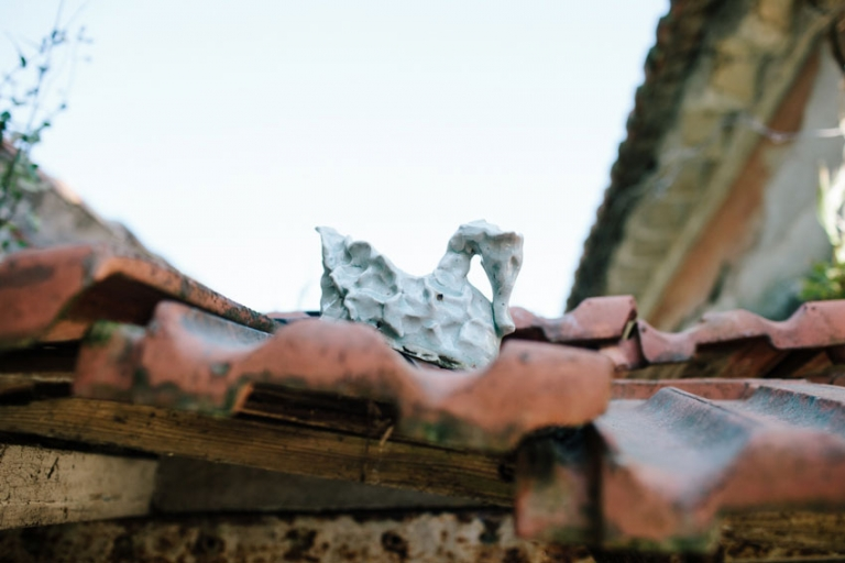 ceramic sculpture on the roof